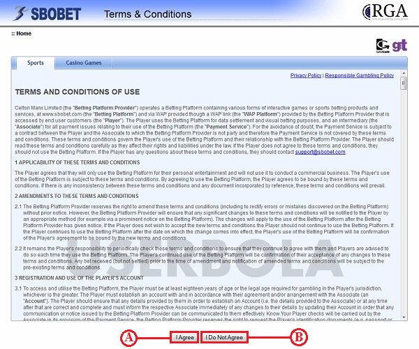 terms condition sbobet